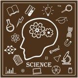 Человеческая голова и значки науки вектор Стоковые Фото
