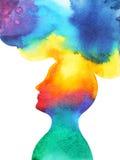 Человеческая голова, сила chakra, мысль воодушевленности абстрактная, мир, вселенная внутри вашего разума иллюстрация штока