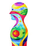 Человеческая голова, сила chakra, думать воодушевленности абстрактный иллюстрация штока
