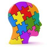 Человеческая голова сделанная красочных частей головоломки Стоковое фото RF