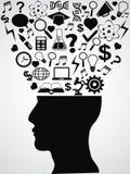 Человеческая голова с творческими идеями Стоковое фото RF