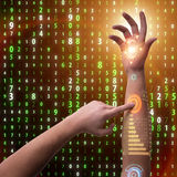 Человеческая робототехническая рука в футуристической концепции Стоковое фото RF
