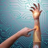 Человеческая робототехническая рука в футуристической концепции Стоковое Фото