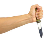 Человеческая рука держа нож Стоковое Изображение