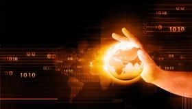 Человеческая рука держа цифровой мир Стоковая Фотография RF