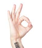 Человеческая рука с жестом кода штриховой маркировки совсем права все ОДОБРЕНА Стоковые Фотографии RF