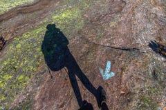 Человеческая тень идя в неверное направление, против голубой стрелки на утесе Стоковое фото RF