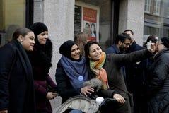 Человеческая цепь для еврейств в Дании Стоковая Фотография RF