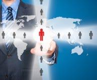 Человеческие ресурсы бизнесмена касающие подписывают - HR, HRM, концепцию HRD Стоковые Фотографии RF