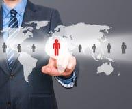 Человеческие ресурсы бизнесмена касающие подписывают - HR, HRM, концепцию HRD Стоковая Фотография RF
