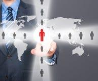 Человеческие ресурсы бизнесмена касающие подписывают - HR, HRM, концепцию HRD Стоковое Изображение RF