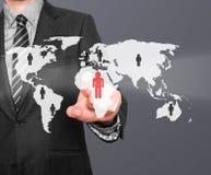 Человеческие ресурсы бизнесмена касающие подписывают - HR, HRM, концепцию HRD Стоковые Изображения RF