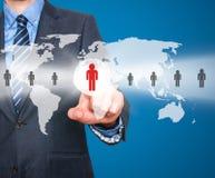 Человеческие ресурсы бизнесмена касающие подписывают - HR, HRM, концепцию HRD Стоковое Фото