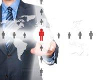 Человеческие ресурсы бизнесмена касающие подписывают - HR, HRM, концепцию HRD Стоковые Фото