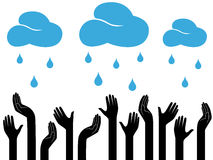 Человеческие руки и идя дождь облака Стоковые Изображения RF