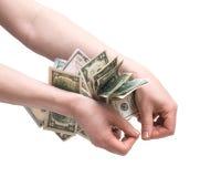 Человеческие руки подсчитывая деньги Стоковые Фото