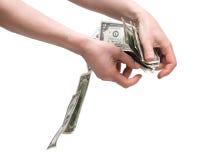 Человеческие руки подсчитывая деньги Стоковые Изображения RF