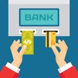 Человеческие руки с пластичными карточкой и долларом - концепцией ATM - иллюстрация тенденции дела Стоковые Изображения RF