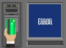Человеческие руки с пластичными карточкой и долларом - концепцией ATM Иллюстрация штока