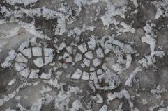 Человеческие следы ноги ботинка в льде Стоковые Фотографии RF