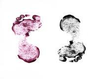 Человеческие следы ноги на белизне Стоковое Изображение RF