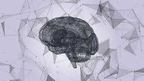 Человеческий мозг в форме частиц и плекса Абстрактная геометрическая предпосылка с moving линиями, точками и треугольниками бесплатная иллюстрация