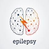 Человеческий мозг с деятельностью при эпилепсии, иллюстрацией вектора Стоковая Фотография RF