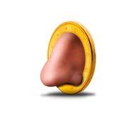Человеческий нос в монетке стоковое изображение rf