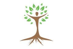 Человеческий логотип дерева Стоковое Изображение