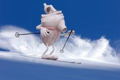 Человеческий орган сердца с оружиями и ногами которые катаются на лыжах иллюстрация вектора