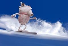 Человеческий орган сердца с snowboarder оружий и ног иллюстрация вектора