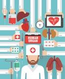 Человеческий орган для дизайна трансплантации плоского с хирургом доктора иллюстрация вектора