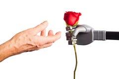 Человеческий получать руки поднял от искусственной руки Стоковые Фотографии RF