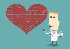 Человеческий характер, персона с стетоскопом и большое сердце pu Стоковое Изображение