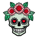 Человеческий череп в венке цветка изолировал иллюстрацию вектора Стоковые Изображения RF