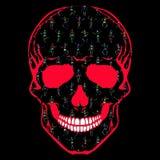 Человеческий череп с красочными скелетами танцев Стоковое фото RF