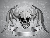 Человеческий череп с крылами - вектор Стоковая Фотография RF