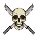 Человеческий череп с 2 пересеченными мачете в стиле нарисованном рукой Стоковые Изображения RF