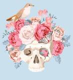 Человеческий череп с розами иллюстрация вектора
