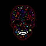Человеческий череп с цветками и бабочками Стоковая Фотография