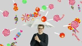 Человеческий человек персоны которое не любит сладостная концепция сахара тянучки карамельки chups chupa ollipop candiesl иллюстрация вектора