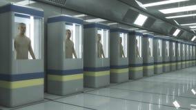 Человеческое производство клона и футуристическая комната Стоковая Фотография