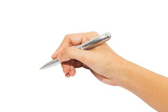Человеческое сочинительство руки с ручкой Стоковые Фотографии RF