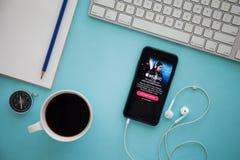 ЧИАНГМАЙ, ТАИЛАНД - 17-ОЕ МАРТА 2016: Скрин-шот музыки Яблока Стоковые Фотографии RF