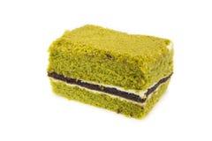 Чизкейк торта зеленого чая Matcha японца крупного плана Стоковая Фотография RF