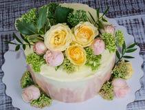 Чизкейк Ombre с розами Стоковая Фотография RF
