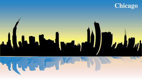 Чикаго в утре - восход солнца - иллюстрация - взгляд глаза рыб - значительно здания от США - Америки иллюстрация штока