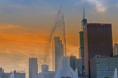 Чикаго на заходе солнца Стоковое Фото