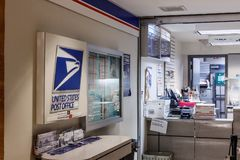 Чикаго - около май 2018: Положение почтового отделения USPS USPS ответственно для обеспечивать доставку почты i стоковые фото