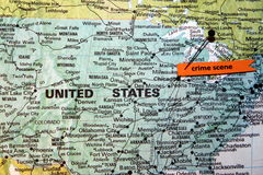 Чикаго показанный как место преступления на u S карта Стоковое Изображение